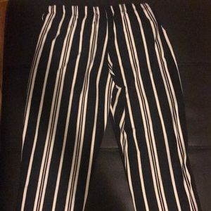 Women Casual white and black striped pants
